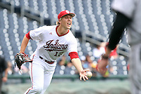 B.J. Sabol tosses the ball to first for an out during the ninth inning of the Hoosiers' 5-3 loss to Maryland in the opening game of the Big Ten Tournament at TD Ameritrade Park in Omaha, Neb. on May 25, 2016. (Photo by Michelle Bishop)