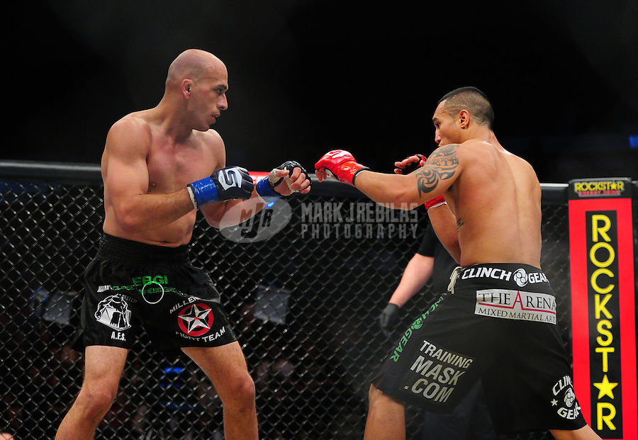 Apr. 9, 2011; San Diego, CA, USA; Strikeforce fighter Saad Awad (left) against Joe Duarte during an undercard bout at the Valley View Casino Center. Mandatory Credit: Mark J. Rebilas-
