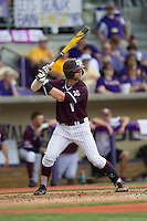 Texas A&M Aggies infielder Logan Taylor (17) at bat during the Southeastern Conference baseball game against the LSU Tigers on April 25, 2015 at Alex Box Stadium in Baton Rouge, Louisiana. Texas A&M defeated LSU 6-2. (Andrew Woolley/Four Seam Images)