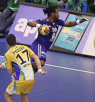 15.01.2013 Granollers, Spain. IHF men's world championship, prelimanary round. Picture show Cedric Sorhaindo   in action during game between France v Brazil at Palau d'esports de Granollers