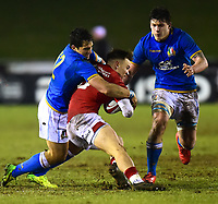 Wales U20's Harri Morgan is tackled<br /> <br /> Photographer Richard Martin-Roberts/CameraSport<br /> <br /> Six Nations U20 Championship Round 4 - Wales U20s v Italy U20s - Friday 9th March 2018 - Parc Eirias, Colwyn Bay, North Wales<br /> <br /> World Copyright &not;&copy; 2018 CameraSport. All rights reserved. 43 Linden Ave. Countesthorpe. Leicester. England. LE8 5PG - Tel: +44 (0) 116 277 4147 - admin@camerasport.com - www.camerasport.com