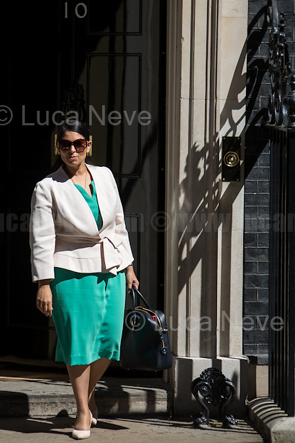 Priti Patel MP (Secretary of State for International Development).<br /> <br /> London, 19/07/2016. First Cabinet meeting at 10 Downing Street (after the EU Referendum and consequent David Cameron's resignation) for the new Prime Minister Theresa May and her newly formed Conservative Government.<br /> <br /> For more information about the Cabinet Ministers: https://www.gov.uk/government/ministers
