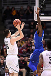 MILWAUKEE, WI - MARCH 18: Butler Bulldogs forward Andrew Chrabascz (45) attempts a shot over Middle Tennessee Blue Raiders forward JaCorey Williams (22) during the first half of the 2017 NCAA Men's Basketball Tournament held at BMO Harris Bradley Center on March 18, 2017 in Milwaukee, Wisconsin. (Photo by Jamie Schwaberow/NCAA Photos via Getty Images)