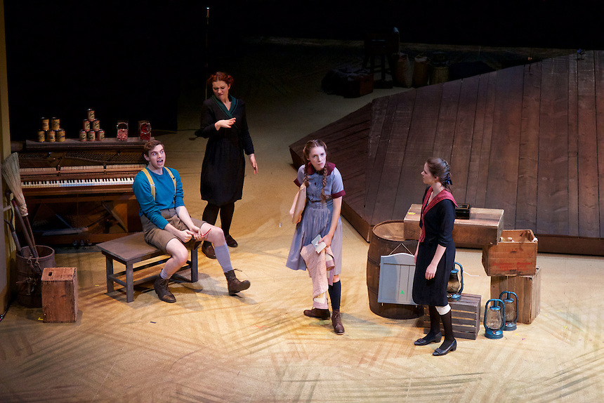 Mother Hicks, an EmStage production, incorporated sign language throughout the play. There are three Emerson students, in dark dresses, who are assigned multiple actors and sign their part alongside them. One of the actors is also deaf and the lighting team has incorporated a green light so he knows when to go and a red light so he knows when to stop.