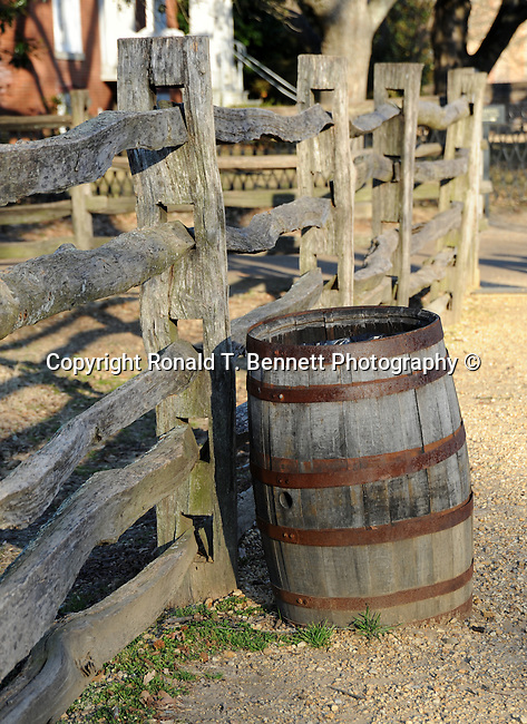 Whiskey barrel and split rail fence, Whisky barrel, Williamsburg VA, barrel, Colonial Williamsburg, Fine Art Photography by Ron Bennett, Fine Art, Fine Art photography, Art Photography, Copyright RonBennettPhotography.com ©