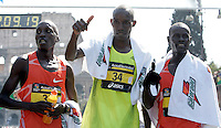 Da sinistra, i kenyoti Benjamin Kiptoo Koulum, Joseph Ngeny e Paul Kirui Kiprop, rispettivamente primo, terzo e secondo, all'arrivo della Maratona di Roma, al Colosseo, 22 marzo 2009..From left, Benjamin Kiptoo Koulum, Joseph Ngeny and Paul Kirui Kiprop of Kenya, respectively first, third and second-ranked, look on after crossing the finishing line of the Rome's Marathon, 22 march 2009 at the Colosseum..UPDATE IMAGES PRESS/Riccardo De Luca