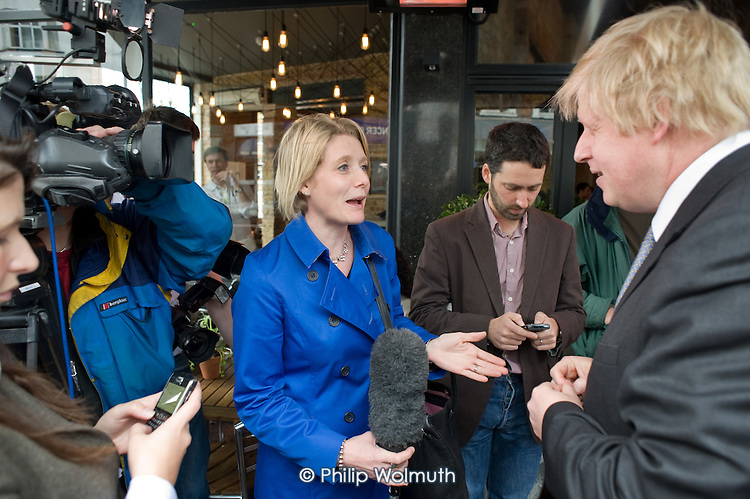 London Mayor Boris Johnson campaigns on behalf of Conservative parliamentary candidate Chris Philp in the marginal constituency of Hampstead and Kilburn.