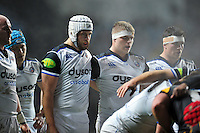 Dave Attwood and Tom Ellis of Bath Rugby look on prior to a scrum. European Rugby Champions Cup match, between Wasps and Bath Rugby on December 13, 2015 at the Ricoh Arena in Coventry, England. Photo by: Patrick Khachfe / Onside Images