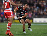 Mason Lino. <br /> NRL Premiership rugby league. Vodafone Warriors v St George Illawarra. Mt Smart Stadium, Auckland, New Zealand. Friday 20 April 2018. &copy; Copyright photo: Andrew Cornaga / www.Photosport.nz
