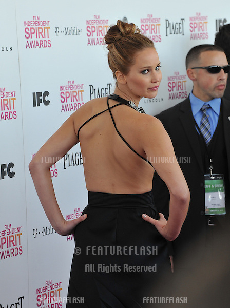 Jennifer Lawrence at the 2013 Film Independent Spirit Awards on the beach in Santa Monica..February 23, 2013  Santa Monica, CA.Picture: Paul Smith / Featureflash