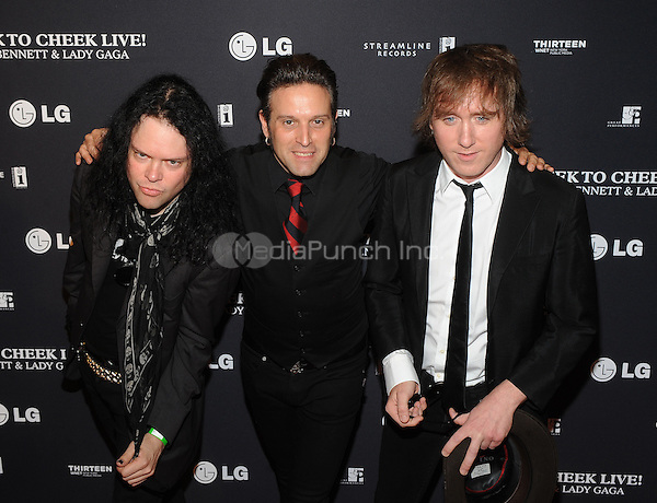 New York,NY-JULY 28: Tommy London, Marty Eiee and Matt Hogan of The Dirty Pearls attend 'Cheek To Cheek' taping at at Jazz at Lincoln Center on July 28, 2014 in New York City on July 27 , 2014.  Credit: John Palmer/MediaPunch