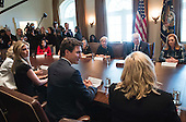 United States President Donald Trump (C) and Canadian Prime Minister Trudeau (front left) participates in a roundtable on the advancement of women entrepreneurs and business leaders, at the White House in Washington, D.C. on February 13, 2017. <br /> Credit: Kevin Dietsch / Pool via CNP