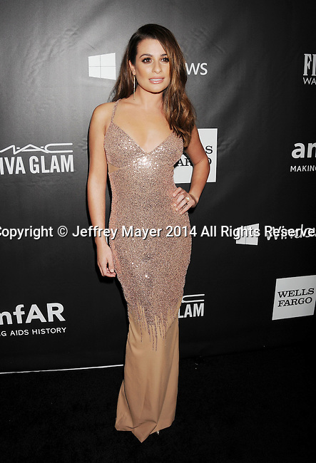 HOLLYWOOD, CA- OCTOBER 29: Actress Lea Michele attends amfAR LA Inspiration Gala honoring Tom Ford at Milk Studios on October 29, 2014 in Hollywood, California.