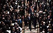 Former President George W. Bush with his wife Laura during walk behind the casket of his father former president George Herbert Walker Bush during a memorial ceremony at the National Cathedral in Washington, Wednesday,  Dec.. 5, 2018.<br /> Credit: Doug Mills / Pool via CNP