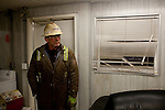 Kendrick Brinson.LUCEO..Kent Stafford, 56, of Rochester, Minnesota, works a 12.5 hour night shift 7 days on and 7 days off on an Ensign Drilling Rig outside of Williston, North Dakota, seen January 2012. He and his colleagues share a mancamp, which is a trailer with two bedrooms and six bunk beds. ..Williston is currently experiencing an influx of people relocating there for the town's third oil boom. ..Model Released: no.Assigning Editor: Michael Wichita.