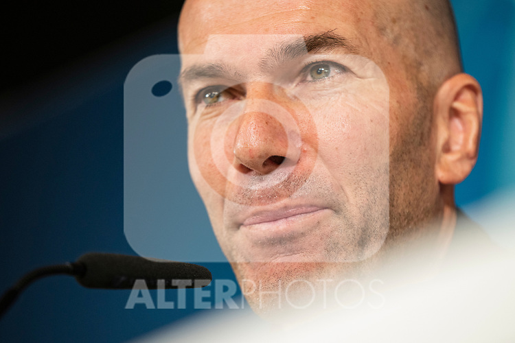 Real Madrid's coach Zinedine Zidane in press conference after training session. <br /> November 25 ,2019.<br /> (ALTERPHOTOS/David Jar)