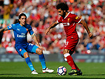 Liverpool's Mohamed Salah (R) in action with Arsenal's Hector Bellerin during the premier league match at Anfield Stadium, Liverpool. Picture date 27th August 2017. Picture credit should read: Paul Thomas/Sportimage