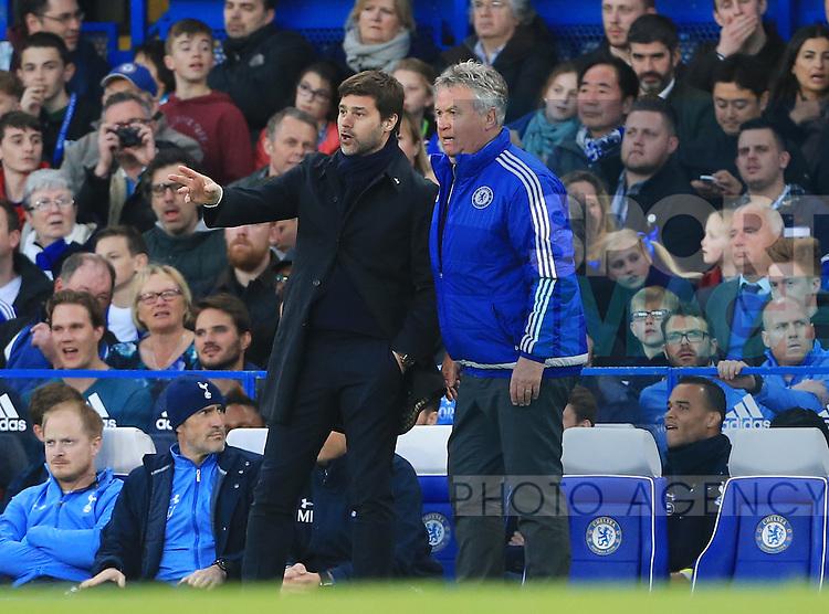 Chelsea's Guus Hiddink talks to Tottenham's Mauricio Pochettino during the Barclays Premier League match at Stamford Bridge Stadium.  Photo credit should read: David Klein/Sportimage