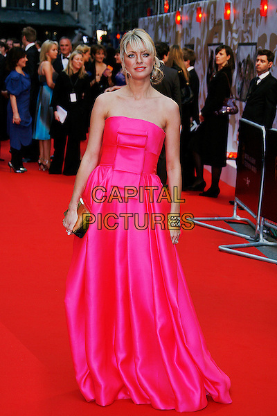 TESS DALY.Red Carpet Arrivals for the British Academy Television Awards 2008, held at the London Palladium, London, England, .April 20th 2008. .BAFTA BAFTA's full length pink dress gown strapless clutch bag purse .CAP/DAR.©Darwin/Capital Pictures.