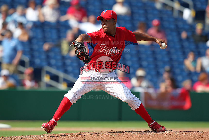 Philadelphia Phillies Juan Perez #84 during a scrimmage vs the Florida State Seminoles  at Bright House Field in Clearwater, Florida;  February 24, 2011.  Philadelphia defeated Florida State 8-0.  Photo By Mike Janes/Four Seam Images