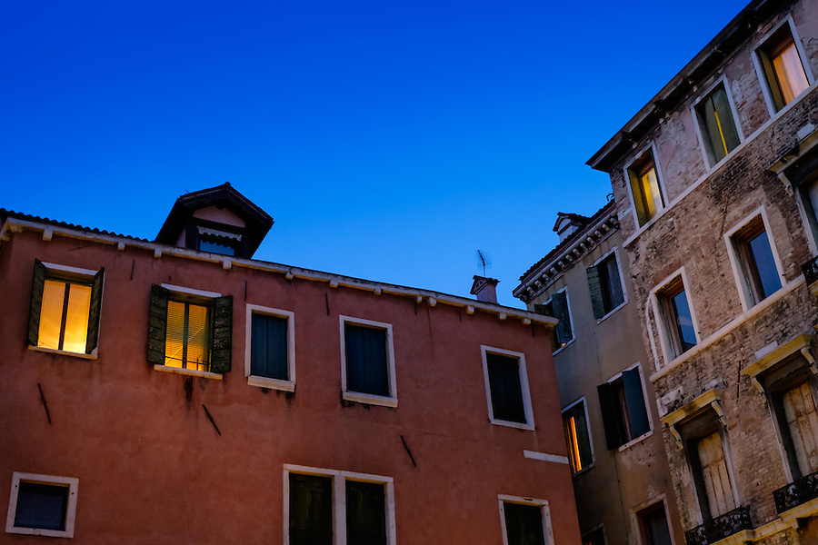 VENICE, ITALY - CIRCA MAY 2015: Typical buildings with patina look walls and windows in Venice