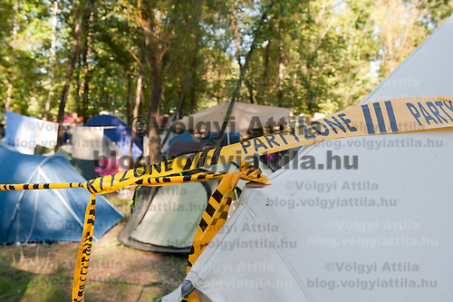 "Tetns decorated with a ""Party Zone"" sign on Sziget festival held in Budapest, Hungary on August 10, 2011. ATTILA VOLGYI"