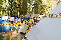 """Tetns decorated with a """"Party Zone"""" sign on Sziget festival held in Budapest, Hungary on August 10, 2011. ATTILA VOLGYI"""