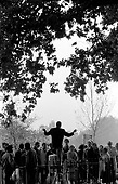 A Christian preacher addresses a crowd at Speakers Corner, Hyde Park, London