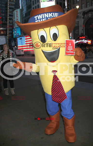 NEW YORK, NY - NOVEMBER 23: Twinkie The Kid promotes the saving of Twinkies after Hostess announces a planned liquidation after filing for bankruptcy. November 23, 2012. Times Square, New York City. Credit: RW/MediaPunch Inc. /NortePhoto