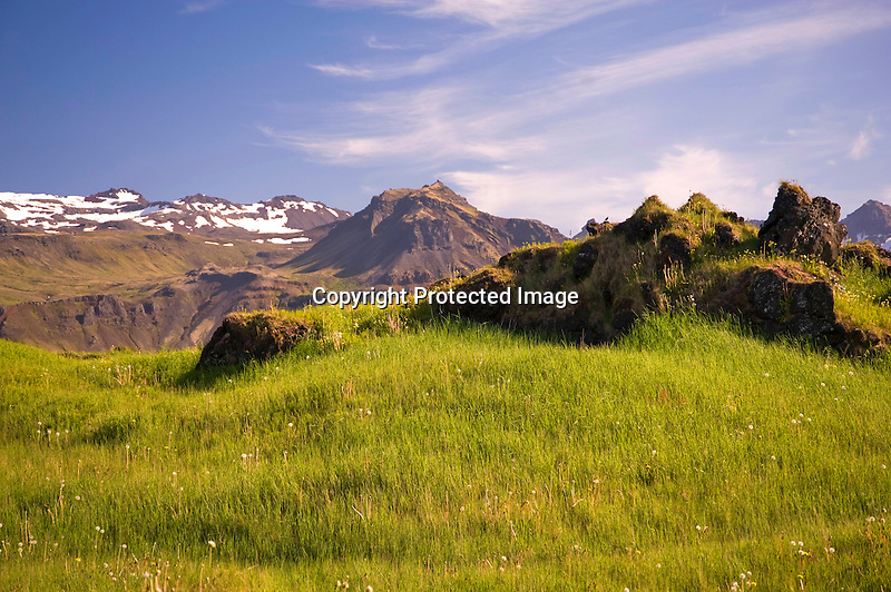 Lava Field and Mountain Peaks in the Former Fishing Village of Budir in West Iceland