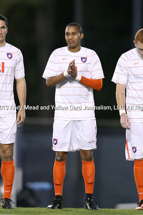 08 October 2013: Clemson's Amadou Dia. The University of North Carolina Tar Heels hosted the Clemson University Tigers at Fetzer Field in Chapel Hill, NC in a 2013 NCAA Division I Men's Soccer match. Clemson won the game 2-1 in overtime.