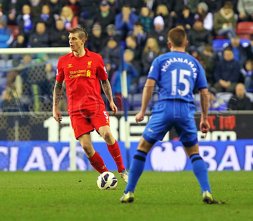 02.03.2013 Wigan, England. Daniel Agger of Liverpool in action during the Premier League game between Wigan Athletic and Liverpool at the DW Stadium.