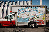 Route 66 highway map  painted on a Uhaul truck in Afton Oklahoma.