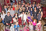 Congratulations - Emma & Chris Donovan from Abbeydorney, seated centre having a wonderful time with family and friends at the christening celebrations for their son Luke following the ceremony in St Brendan's Church in Tralee on Saturday. Seated on the left and right are Godparents Declan Roche and Ashley Delaney............................................................................................................................................................................................................................................................................................ ............