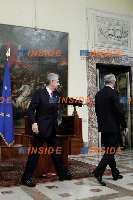 Mario Monti e  Herman Van Rompuy. .Roma 16/01/2012 Incontro a Palazzo Chigi tra il Presidente del Consiglio Italiano e il Presidente del Consiglio Europeo..Foto Insidefoto  Serena Cremaschi.............