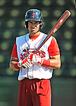 30 June 2012: Lowell Spinners' outfielder Williams Jerez awaits his turn in the batting cage prior to a game against the Vermont Lake Monsters at Centennial Field in Burlington, Vermont. Mandatory Credit: Ed Wolfstein Photo