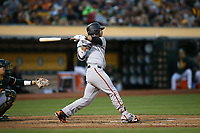 OAKLAND, CA - JULY 31:  Brandon Crawford #35 of the San Francisco Giants bats against the Oakland Athletics during the game at the Oakland Coliseum on Monday, July 31, 2017 in Oakland, California. (Photo by Brad Mangin)