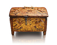 Gothic box made from poplar wood with stucco reliefs, gold leaf gold decorations and traces of polychrome iron and brass 2nd quarter 15th century, possibly from Barcelona, Catalunya, Spain. National Museum of Catalan Art, Barcelona, Spain, inv no: MNAC 12120. Against a white background.