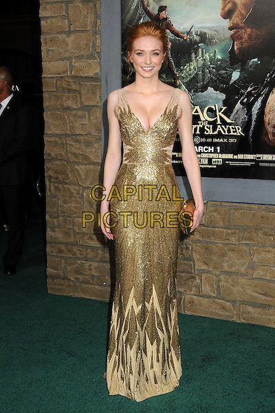 "Eleanor Tomlinson.""Jack The Giant Slayer"" Los Angeles Premiere held at Grauman's Chinese Theatre, Hollywood, California, USA..February 26th, 2013.full length gold dress metallic beads beaded cleavage clutch bag.CAP/ADM/BP.©Byron Purvis/AdMedia/Capital Pictures."