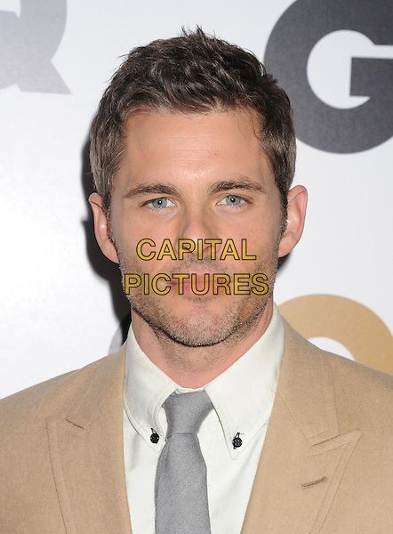 James Marsden.Arriving at the GQ Men Of The Year Party at Chateau Marmont Hotel in Los Angeles, California, USA..November 13th, 2012.headshot portrait white shirt grey gray tie beige suit jacket stubble facial hair.CAP/ROT/TM.©Tony Michaels/Roth Stock/Capital Pictures