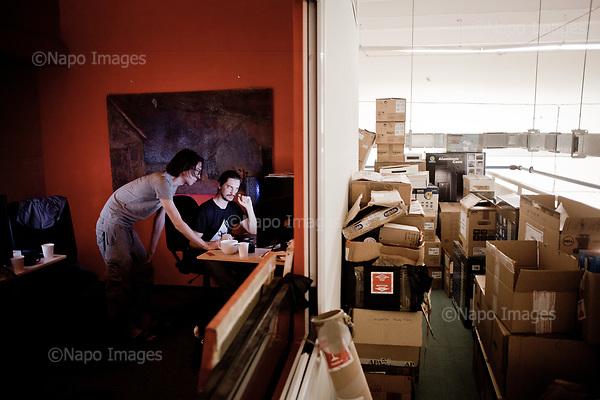 GDANSK, 30/05/2016:<br /> VFX team: Bartosz Dluzewski and Lukasz Mackowiak are working at the production venue of &quot;Loving Vincent,&quot; an animated film being made in Poland about Vincent Van Gogh that's using oil-painted cels. Each finished cel is photographed on the spot and transferred to computer's memory.<br /> (Photo by Piotr Malecki / Napo Images)<br /> <br />  <br /> ####<br /> GDANSK, 30/05/2016:<br /> Produkcja filmu &quot;Twoj Vincent&quot; - pierwszego w historii filmu animowanego skladajacego sie w calosci z klatek osobno malowanych na plotnie przez dziesiatki zatrudnionych w tym celu malarzy z calego swiata.<br /> (Fot: Piotr Malecki dla NYT / Napo Images /  Napo Images) <br /> <br /> <br /> ### Zakaz publikacji w negatywnym kontekscie. Cena minimalna: 100 PLN ### Zakaz publikacji w Gazecie Polskiej ###
