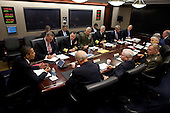 Washington, DC - October 30, 2009 -- United States President Barack Obama holds a briefing on Afghanistan with the Joint Chiefs of Staff in the Situation Room at the White House on October 30, 2009. Seated at the table clockwise from the President are NSC Advisor James L. Jones, Chairman of the Joint Chiefs of Staff Admiral Mike Mullen, Commandant of the United States Marine Corps General James T. Conway, Chief of Naval Operations Admiral Gary Roughead, White House Chief of Staff Rahm Emanuel, Deputy National Security Advisor Tom Donilon, Deputy National Security Advisor John Brennan, Chief of Staff of the United States Air Force General Norton A. Schwartz, Chief of Staff of the Army General George W. Casey Jr., Vice Chairman of the Joint Chiefs of Staff General James E. Cartwright, Secretary of Defense William Gates, and Vice President Joe Biden..Mandatory Credit: Pete Souza - White House via CNP
