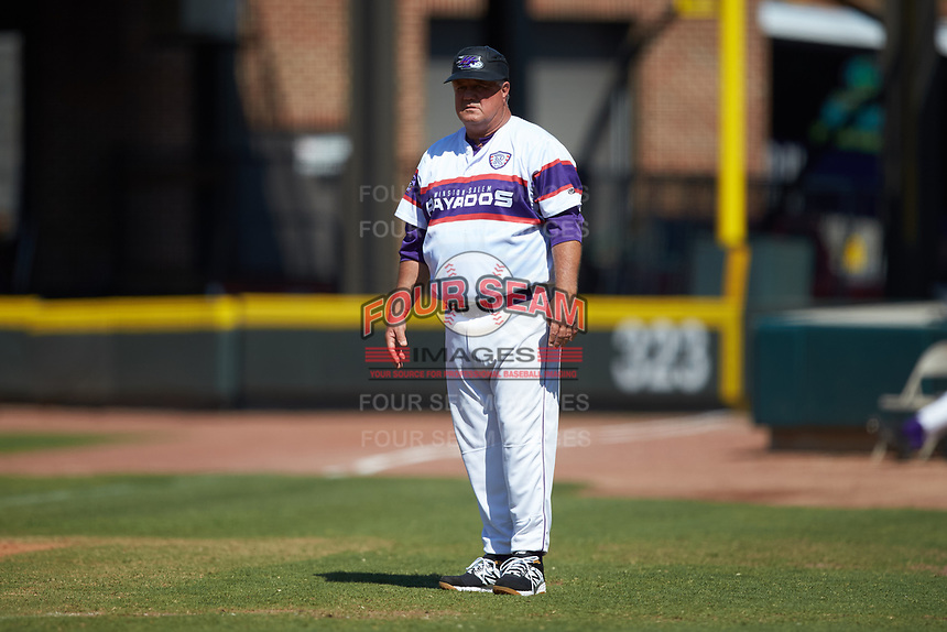 Winston-Salem Rayados first base coach Tommy Thompson (40) during the game against the Lynchburg Hillcats at BB&T Ballpark on June 23, 2019 in Winston-Salem, North Carolina. The Hillcats defeated the Rayados 12-9 in 11 innings. (Brian Westerholt/Four Seam Images)