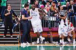 S&ouml;dert&auml;lje 2014-04-22 Basket SM-Semifinal 7 S&ouml;dert&auml;lje Kings - Uppsala Basket :  <br /> Uppsalas Oladapo Dee Ayuba ser nedst&auml;md under en intervju efter matchen<br /> (Foto: Kenta J&ouml;nsson) Nyckelord:  S&ouml;dert&auml;lje Kings SBBK Uppsala Basket SM Semifinal Semi T&auml;ljehallen depp besviken besvikelse sorg ledsen deppig nedst&auml;md uppgiven sad disappointment disappointed dejected