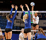 BROOKINGS, SD - SEPTEMBER 1: Payton Richardson #11 from South Dakota State University winds up to get a kill past Aleksandra Djordjevic #5 and Haylee Roberts #11 from CSU Bakersfield during their match Friday night at the Jackrabbit Invitational at Frost Arena in Brookings. (Photo by Dave Eggen/Inertia) (Photo by Dave Eggen/Inertia)