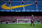 1st October 2017, Camp Nou, Barcelona, Spain; La Liga football, Barcelona versus Las Palmas; Andres Iniesta of FC Barcelona on the pitch  as the game is played behind closed doors due to the riots in Barcelona during the Catlaonio referendum