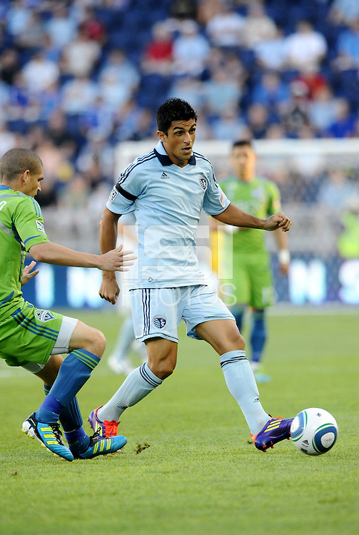 Jeferson (10)  midfielder Sporting KC in action... Sporting Kansas City were defeated 1-2 by Seattle Sounders at LIVESTRONG Sporting Park, Kansas City, Kansas.