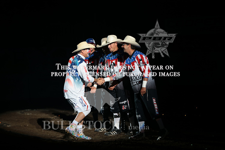 Frank Newsom, Shorty Gorham, Cooper Waln, Cody Webster, Flint Rasmussen in the opening during the second round of the Bismarck Real Time Pain Relief Velocity tour PBR. Photo by Andy Watson