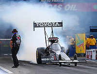 Jun 19, 2015; Bristol, TN, USA; NHRA top fuel driver Antron Brown during qualifying for the Thunder Valley Nationals at Bristol Dragway. Mandatory Credit: Mark J. Rebilas-USA TODAY Sports