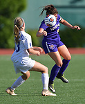 Rosati-Kain's Salema Al-baaj (right) heads the ball as she's pressured by Notre Dame's Hannah Miller. Notre Dame High School (Cape Girardeau) defeated Rosati-Kain in the Class 2 girls quarterfinal game played at St. Louis University High School in St. Louis, MO on Wednesday May 22, 2019.<br /> Tim Vizer/Special to STLhighschoolsports.com